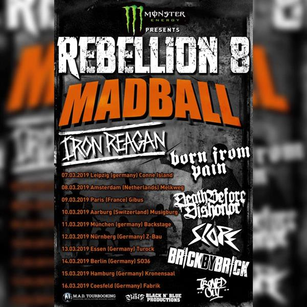 Madball, Iron Reagan, Born From Pain, Death Before Dishonor, Slope, Brick By Brick, Ironed Out
