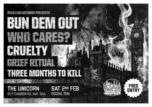 Rucktion hardcore night: Bun Dem Out, Who Cares?, Cruelty, Mastermind, Three Months To Kill & more