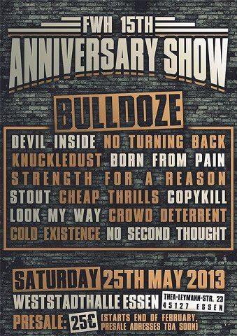 Bulldoze, Devil Inside, No Turning Back, Knuckledust, BFP, SFAR
